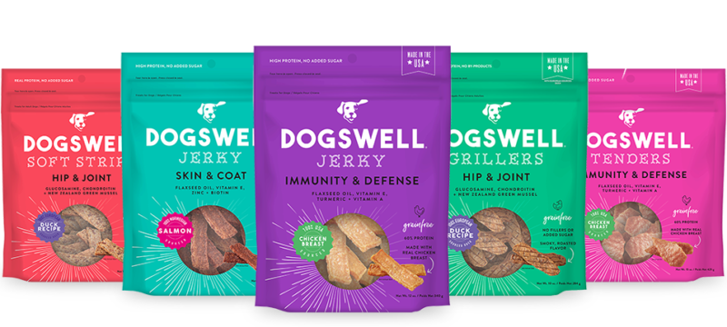 A selection of Dogswell's premium dog treats, lined up in a neat ...